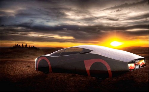 Electric Sports Car with Solar Panel Exterior Drives All Day Without Being Recharged