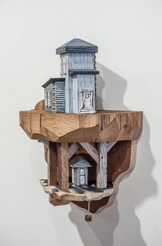 Clever Combinations of Illustrations and Wood Carvings Create Extraordinary Miniature Cities