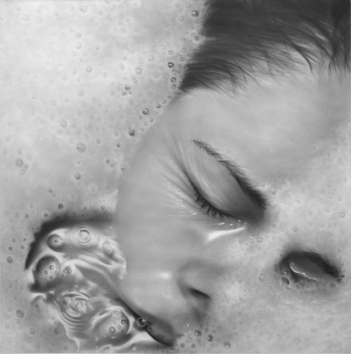 Photorealistic Drawings Created with Thin Layers of Graphite Dust Brushed on Paper
