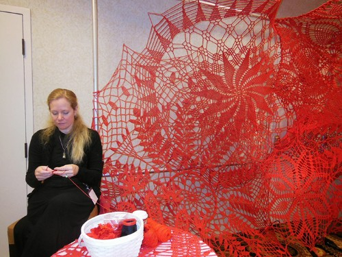 15-Foot-Tall Crocheted Doilies Consume Gallery Walls