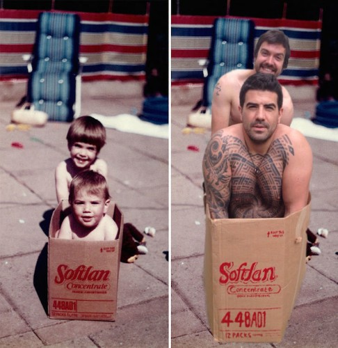 Two Brothers Recreate Their Childhood Photos For Parents' Wedding Anniversary