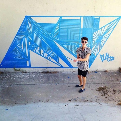 Eye-Catching Geometric Tape Murals Seen on the Streets of Los Angeles