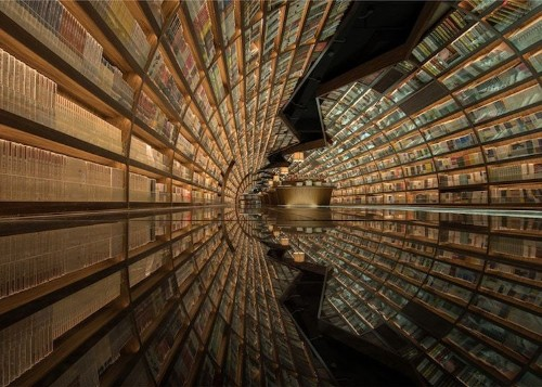 Black Mirrored Floor Makes Bookstore Entrance Look Like a Circular Tunnel of Books