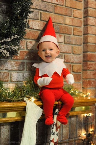 Dad Transforms His Adorable 4-Month-Old Son into a Real-Life Elf on the Shelf