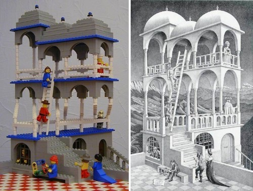 M.C. Escher Art Recreated Using LEGO Bricks (5 Structures)