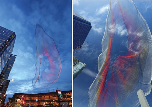 Monumental Interactive Net Sculpture Floats in the Sky