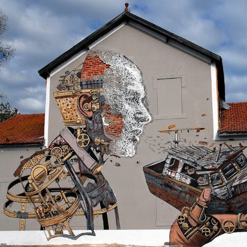 Extraordinary Street Art Collaboration by Pixel Pancho and Vhils