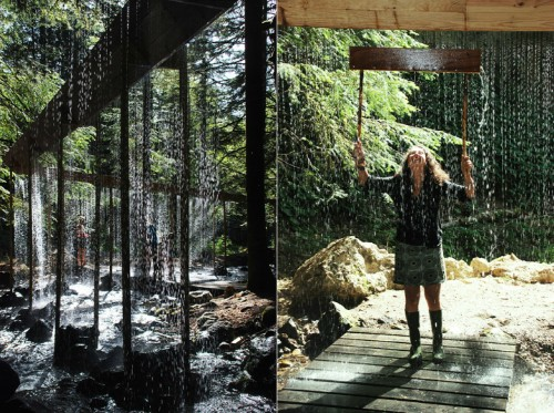 Stunning Water Curtain Installation Zigzags Through Woods in France
