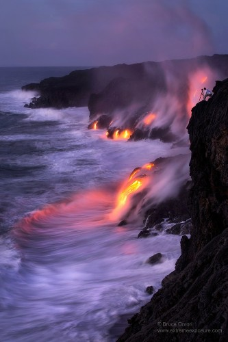 Hot Lava Hits Seawater and Forms Black Sand Beach
