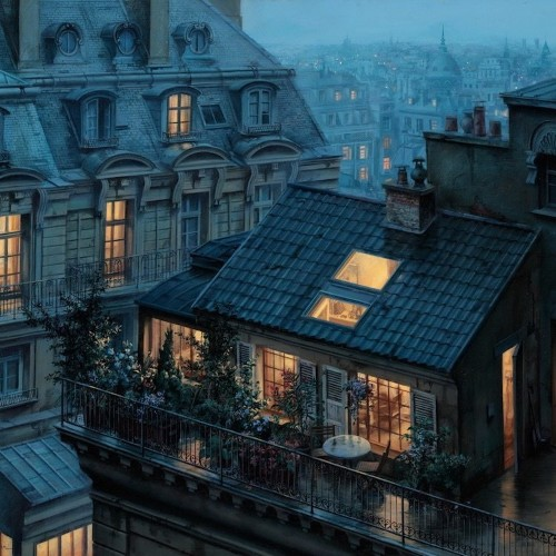 Enchanting Paintings Capture the Twinkling Beauty of Paris at Twilight