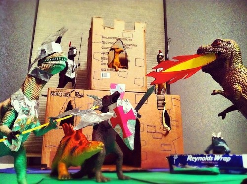 Creative Parents Stage Dinosaur Toy Scenes, Convince Kids They're Alive at Night