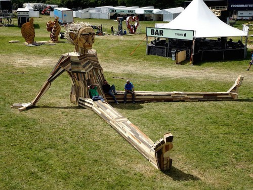 Giant Mythical Creatures Sculpted Out of Found Scrap Wood and Recycled Materials