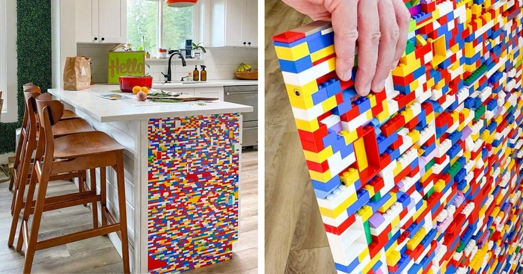 Artist Uses Colorful LEGO Bricks to Transform an Ordinary Kitchen Peninsula Into a Playful Piece of Decor