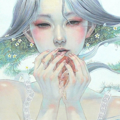 Delicate Japanese Oil Paintings of Ethereal Woman Submerged with Nature