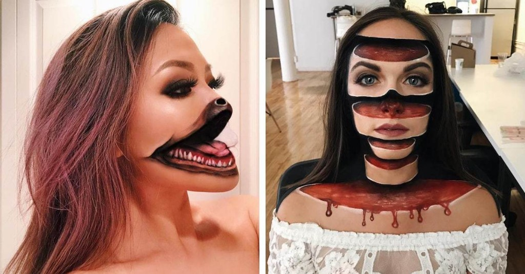 Former Teacher Uses Mind-Bending Makeup Illusions to Split People into Pieces