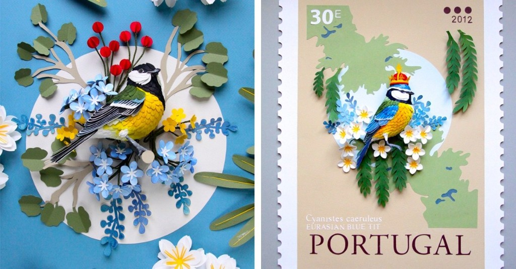Lifelike Paper Birds Adorn Oversized Stamps of Countries Around the World