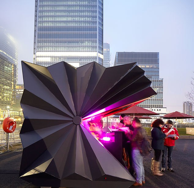 Geometric Folding Metal Kiosks Inspired by Origami