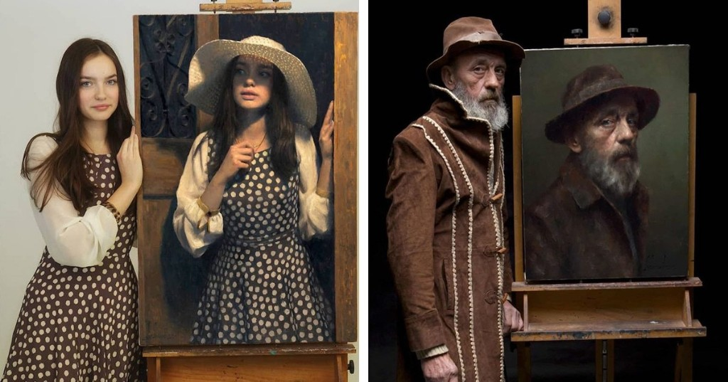 Models Stand Next to Paintings of Themselves and the Likeness Is Uncanny