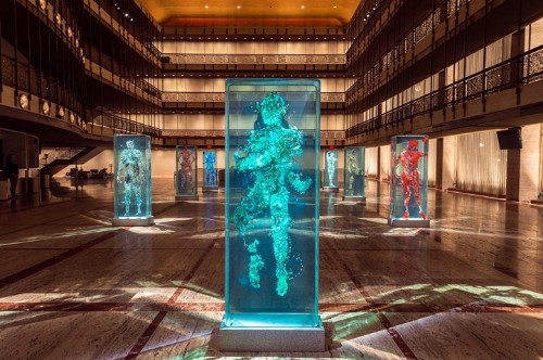 Three-Dimensional Human Collages Encased in Layers of Glass