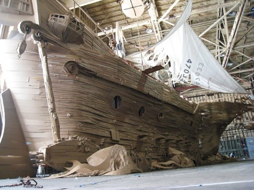 Life-Sized Pirate Ship Built Completely Out of Cardboard