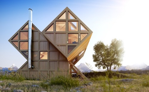 Asymmetrical Cabin Design Inspired by the Surrounding Dolomite Mountains