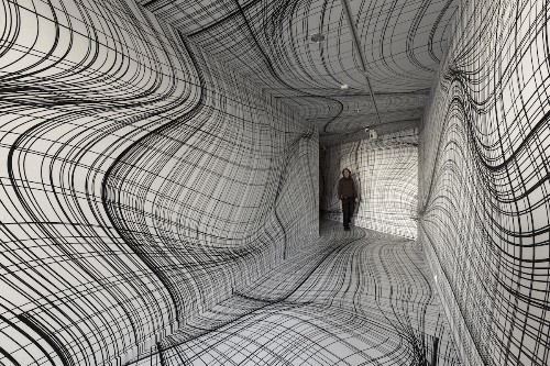 Artist Transforms Ordinary Rooms into Hypnotic Optical Illusions