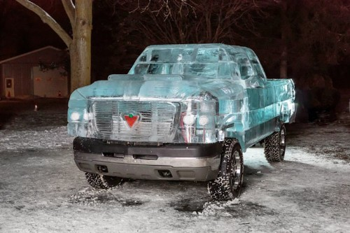 Functioning Pickup Truck Built with 11,000 Pounds of Ice
