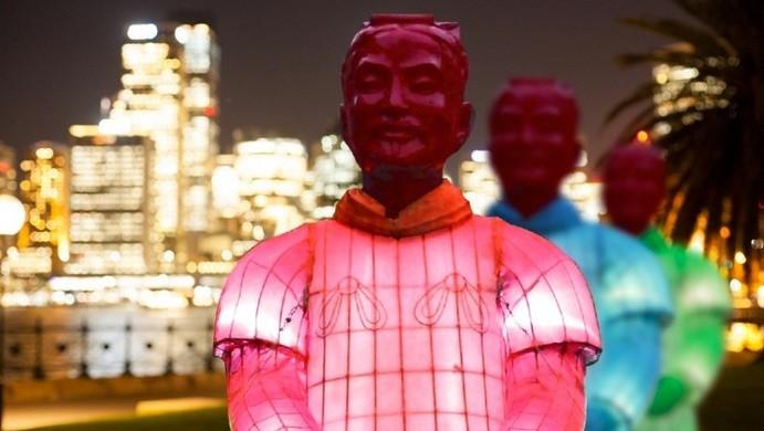Terracotta Warrior Lantern Sculptures Glow in Sydney for Chinese New Year