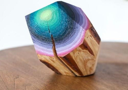 Geometric Wood Blocks Painted to Look Like Colorful Gemstones