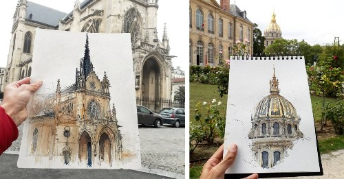 Architecture Student Living in Paris Wanders the Streets Sketching His Favorite Buildings