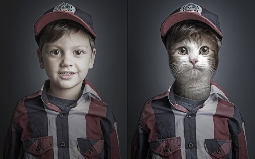 Funny (and Freaky) Photo Series Photoshops Cats with Cat Owners