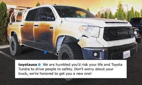 Nurse Who Saved Lives in California Fire Shares Images of Scorched Truck, Toyota Responds