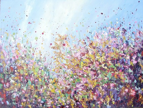 Thickly Layered Landscape Paintings of Beautiful Fields of Flowers