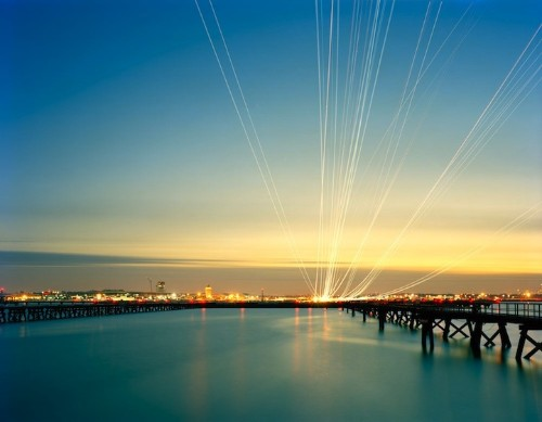 Dazzling Streaks of Light Show Airplane Flight Paths