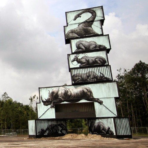 Shipping Containers Painted as Cages in Powerful Series by ROA