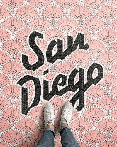 Illustrated Typographic Floor Mosaics Document Designer's Journey Around the World