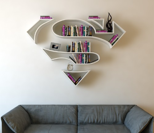 Bookshelves Shaped Like Superhero Logos Add a Special Flair to Any Secret Lair