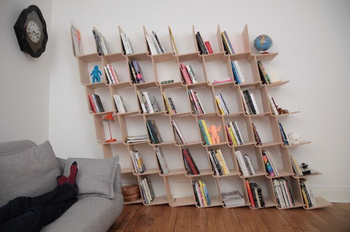 Slanted Modular Shelving Unit Requires No Glue, Screws, or Complex Instructions