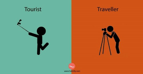 Minimalistic Cartoons Reveal Differences Between Tourists and Travelers
