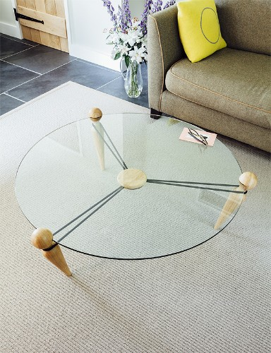 Elegantly Simple Coffee Table Held Together by Bungee Cord Tension