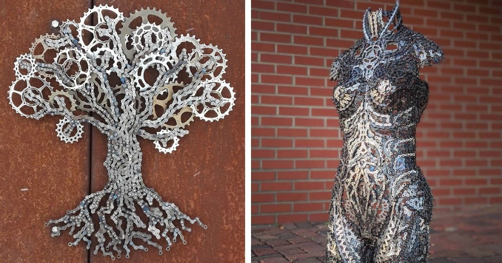 Artist Turns Old Bike Chains Into Spectacular Metal Sculptures Inspired by Nature and Humans