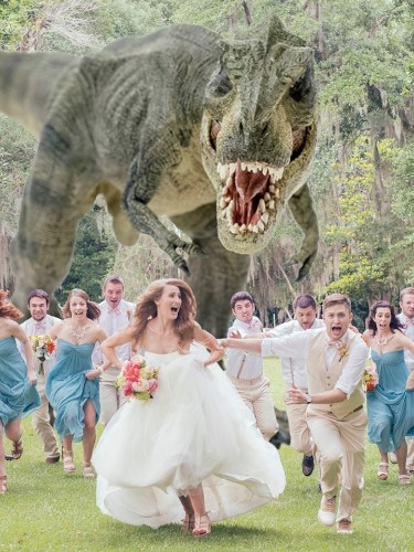 Hilarious Photo of a T-Rex Chasing a Wedding Party