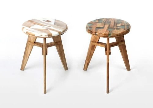 Discarded Scraps Transformed into Functional Wood and Resin Stools