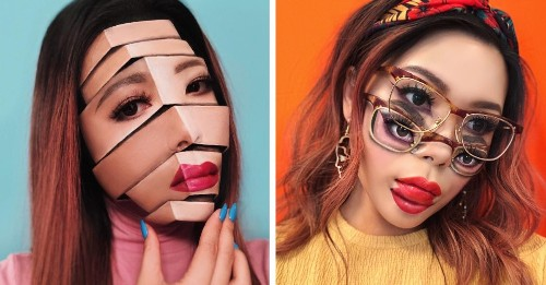 Makeup Artist Transforms Her Face Into Mind-Bending Optical Illusions