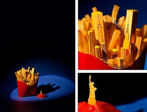 Delightful Paper Dioramas Showcase Iconic Cities Atop Famous Foods