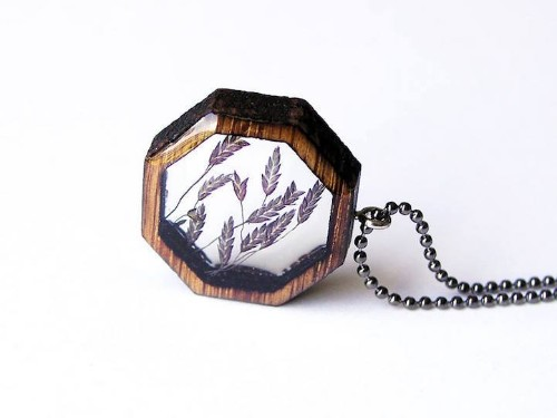 Foraged Pieces of a Michigan Forest Encased in Delicately Laser-Cut Wooden Pendants