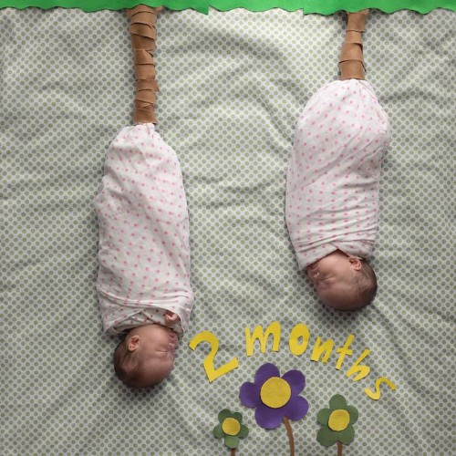 Adorable Preemie Twin Girls Playfully Pose for Creative Portraits