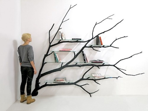 Found Fallen Tree Branch is Repurposed into Beautifully Unconventional Shelving