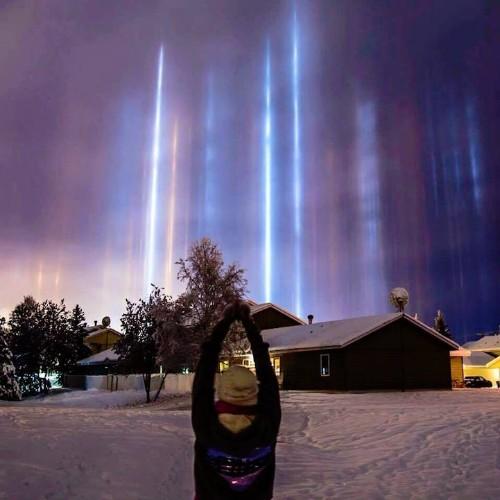 Rare Cold Weather Phenomenon Displays Mesmerizing Light Pillars in the Sky