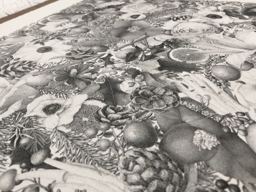 Artist Patiently Creates Complex Floral Drawing with 8 Million Stippled Dots